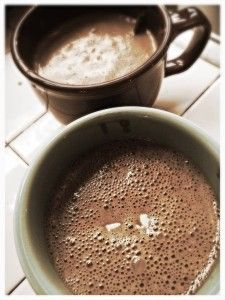Vegan Champurrado made with organic Mexican chocolate discs, masa harina, and spices!