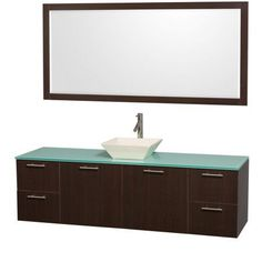 Wyndham Collection Amare 72 inch Single Bathroom Vanity in Espresso with Green Glass Top with Bone Porcelain Sink, and 70 inch Mirror
