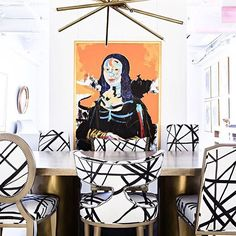 #regram from @reaganhayesinc. @kellywearstler for Groundworks by Lee Jofa channels fabric dresses these mismatched dining chairs to create a graphic and unique look.