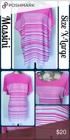"Sz XL Massini Pink Striped Tunic So cute and perfect layered or paired with boyfriend jeans! Excellent pre worn condition!. 100% Polyester. Across Bust "", Length 31"" from center back,  No rips, tears, or stains.... From a smoke-free, dog friendly home, No trades and no off-site transactions! (T81) Massini Tops Tunics"