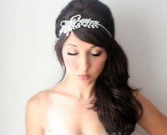 Rhinestone Bridal headpiece wedding tiara headband by deLoop