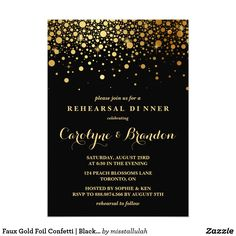 Faux Gold Foil Confetti | Black Rehearsal Dinner Card Modern and elegant rehearsal dinner invitation featuring faux gold foil confetti. This invitation is perfect for formal events. This design is available in other colors.