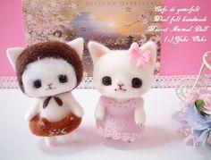 【大古 ようこ】Feltneedle wool - 白猫&猫