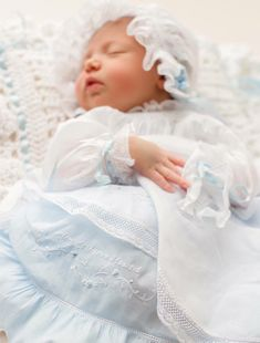 French Handsewn Daygown Slip and Bonnet, Clara Catherine's Homecoming Ensemble, Smocked and Hand Embroidered, Monogrammed, French Constructi Frocks And Gowns, Feather Stitch, Ribbon Rosettes, Christening Gowns, Heirloom Sewing, Baby Grows, French Lace, Beaded Lace, Baby Sewing