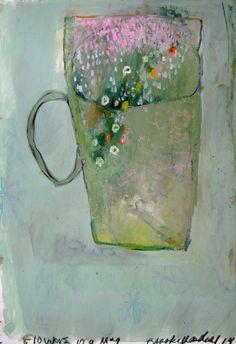 "mug art Saatchi Art Artist Brooke Wandall-Schiavi; Painting, ""flowers in a mug"" Original Art, Original Paintings, Mug Art, Beautiful Paintings, Artist Painting, Painting Inspiration, Flower Art, Illustration, Cool Art"