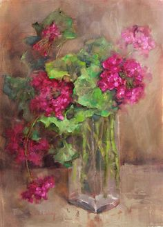 """Aurora Geranium 17x24"""" oil on linen I've been keeping my geranium from last season in my house over the winter. I put it in a north..."""
