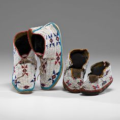 Sioux Beaded Hide Moccasins ca. 1900.