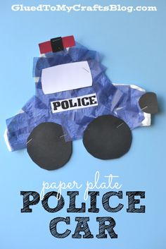 Paper Plate Police Car - Kid Craft Great for Community Workers lesson Daycare Crafts, Classroom Crafts, Toddler Crafts, Preschool Activities, Crafts For Kids, Preschool Transportation Crafts, Car Crafts, Space Activities, Transportation Theme