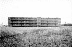 Hannes Meyer y el Departamento de Arquitectura de la Bauhaus Dessau (Diseño), Balcón Acceso Casas, Törten expansión del asentamiento Dessau-Törten, Laubenganghaus, 1929-1930 Bauhaus-Archiv de Berlín