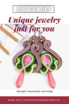 Large pastel soutache earrings made with the soutache embroidery technique using pink cat's eye and jade teardrop. These unique colored earrings will be a great addition to your everyday or holiday dress, it is also an excellent gift for your wife, sister, or your friend. Boho Jewelry, Jewelery, Unique Jewelry, Handmade Necklaces, Handmade Jewelry, Handmade Gifts, Soutache Earrings, Pink Cat, Embroidery Techniques