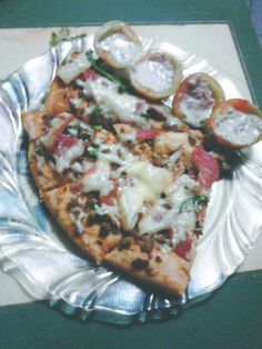 pizza for dinner with 'rellenong kamatis' (tomato stuffed with tuna flakes and hard boiled egg in mayo dressing)