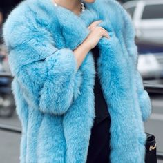HP 2/14 Fox Fur Coat 3/4 Sleeve Powder Blue Collarless Fox Coat. This coat is fully lined. The highest quality pelts are used to create this extravagant high fashion piece. It coat has been treated with a quality dyeing process to insure full color, and luster. Jackets & Coats