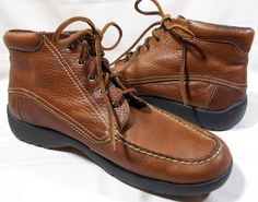 DEXTER MENS BOOTS 9 M TAN PEBBLED LEATHER LACE UP ANKLE STYLE #40490 EUC MUST C #Dexter #AnkleBoots