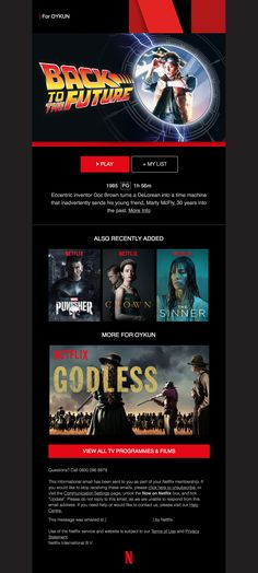 Netflix Email - We've just added a film you might like Doc Brown, Email Design, Real Life, Netflix, Jar, Messages, This Or That Questions, Film, Movie