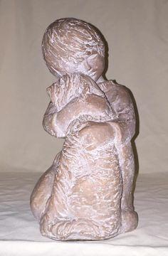 "1972 Austin Artist Milo Musulin Sculpture Of Boy With Dog Sheepdog 12"" Statue"
