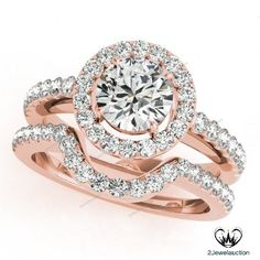 Halo Style 2.55Ct D/VVS1 Diamond Women's Bridal Ring Set In 14k Rose Gold Finish…