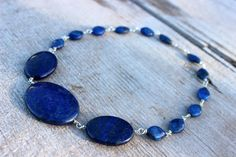 Blue Lapis Lazuli Necklace, Sterling Silver Wire, Handmade, Wire Wrapped, Nature Inspired, Natural Jewelry, Silver Jewelry, Lapis Necklace