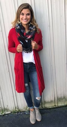 Fashion Look Featuring Ann Taylor Cardigans and Halogen Petite Sweaters by justposted - ShopStyle How to wear a red cardigan Red Cardigan Outfits, Long Red Cardigan, Winter Cardigan Outfit, Outfit Jeans, Casual Fall Outfits, Classy Outfits, Cool Outfits, Fashion Outfits, Red Outfits For Women