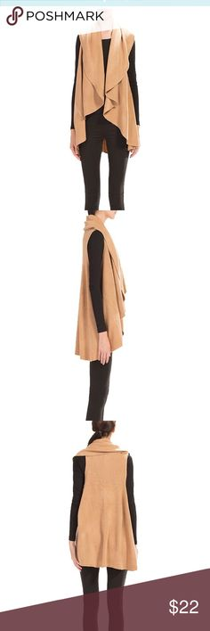 Look by M Draped Basic Shawl Vest in Camel Versatile shawl from boutique brand LOOK by M. This neutral layering piece works as a shawl, vest, scarf or hooded vest. Camel brown color that pairs perfectly with almost anything.  100% Acrylic. Hand Wash, Dry Flat. Imported. One size fits most.  Very good condition - only worn a handful of times. Look by M Jackets & Coats Vests