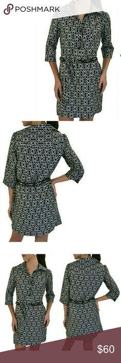 Milly NY Geometric Print Silk Tunic Shirt Dress Used a few times. Perfect condition. Comes with a Chain belt. Size 6. Milly Dresses