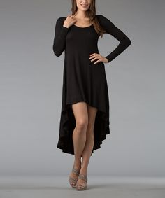 Black Scoop Neck Hi-Low Dress | Daily deals for moms, babies and kids