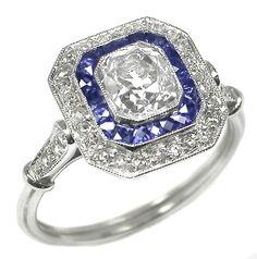 1.10ct Old Mine Cushion Cut Diamond Sapphire Platinum Engagement Ring | New York Estate Jewelry | Israel Rose