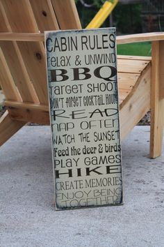 Cabin Rules Lake Rules lodge Rules 9x24 Custom by Wildoaks on Etsy