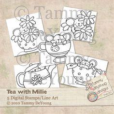 Tea with Millie Digi Stamps/Line Art