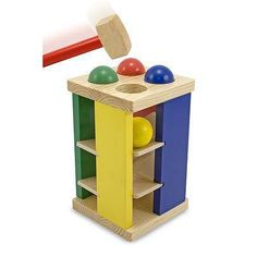 Melissa & Doug Pound & Roll Tower Playset in Toys & Hobbies, Preschool Toys & Pretend Play, Wooden & Handcrafted Toys Toddler Toys, Baby Toys, Kids Toys, Wooden Table And Chairs, Melissa & Doug, Wood Construction, Educational Toys, Tour, Bright Colors