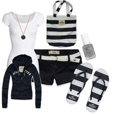 Hollister Outfit. longer shorts. i've never really shopped at Hollister i like the stripes.