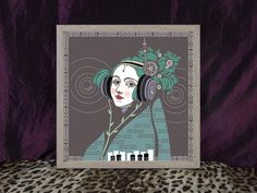 The iconic Ada Saint Lovelace by Daniel Orlick. Now available as a square print. Look how he has modernised the genius of Ada Lovelace - diodes and satellites in her hair, created in the unique style the artist is recognised for. Ada Lovelace, Saints, Victorian, Female, Creative, Artist, Unique, Hair, Etsy