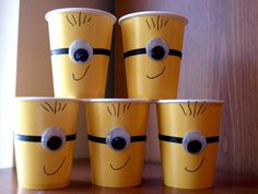 Step by Step Minion Party Cups Tutorial #DespicableMe party Decorations. Come check out more ideas as well.