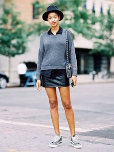 Tip of the Day: What to Wear With a Leather Miniskirt - Street Style