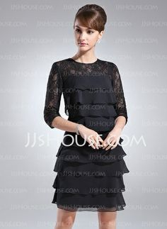 Mother of the Bride Dresses - $132.99 - Sheath Scoop Neck Knee-Length Chiffon Mother of the Bride Dresses With Lace (008005930) http://jjshouse.com/Sheath-Scoop-Neck-Knee-Length-Chiffon-Mother-Of-The-Bride-Dresses-With-Lace-008005930-g5930