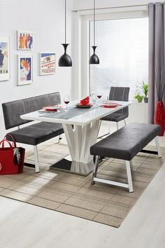 Esstisch in Weiß Hochglanz online kaufen ➤ mömax Dining Table, Furniture, Home Decor, Rectangle Dining Table, Tall Dining Table, Contemporary Design, Dinner Room, Food, Dinning Table