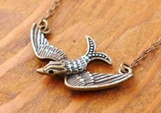 Flying Bird Necklace  antique bird antique bronze by MegusAttic, $24.00