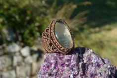 Bohemian Ring // Macrame Ring // Crystal Jewelry // Inspirational Jewelry // Prehnite Gemstone