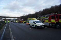 The resulting chemical spill on the #M1 #J28 accident earlier today - http://Roadca.ms/1448  - Road to remain closed until approx 4pm now. Photos via Paul Reeves of #EnvironmentAgency