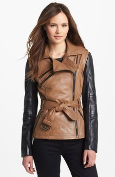 Laundry by Shelli Sega - Two Tone Leather Moto Jacket