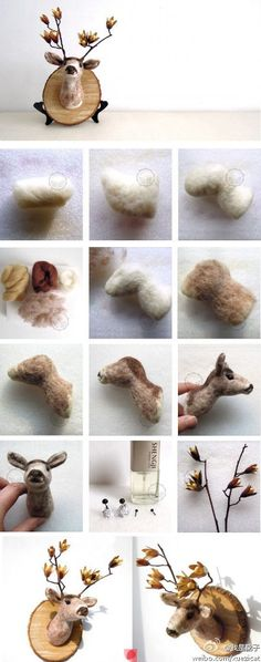 - Makes me sad when I can't find the source. This is another pinning place that doesn't acknowledge the artist. Needle felted deer from someone nice enough to share the steps. Felted Wool Crafts, Felt Crafts, Fabric Crafts, Sewing Crafts, Needle Felted Animals, Felt Animals, Felt Pictures, Needle Felting Tutorials, Diy Couture