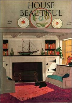 A cheerful, cozy inglenook painted for the May, 1923 issue of House Beautiful by an artist whose name I can't make out. Old Magazines, Vintage Magazines, Beautiful Cover, House Beautiful, Journal Vintage, Scandinavian Cottage, Inglenook Fireplace, English Interior, 1920s House