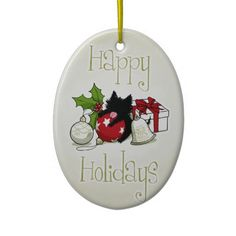 Decorations & Black Kitten (Happy Holidays) Tree Ornament :) #Holiday #Christmas #cat #Kitten #Ornament #white #gold #Black
