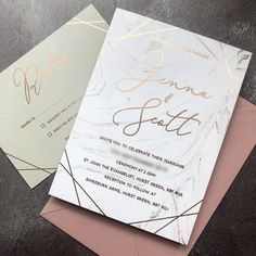 Marble and rose gold foil wedding invitations Polka Dot Paper, Polka Dots, Foil Wedding Invitations, Rose Gold Foil, Marble, Reception, Marriage, Instagram, Casamento