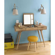Solid mango wood vintage dressing table W 112cm | Maisons du Monde
