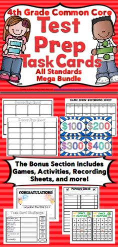 4th Grade Math Test Prep Task Cards: Make test prep something to look forward to! This Common Core aligned task card pack includes 5 sets of 24 task cards (one for each domain). A bonus section also includes games, recording sheets, activities, and more. Wow! $ 4th Grade Math Test, Math Task Cards, Recording Sheets, Test Prep, Prepping, Core, Activities, Games, Toys