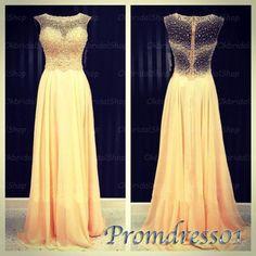 Cute yellow chiffon long evening dress, prom dress 2016