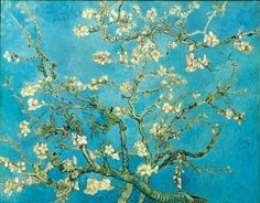 One of Van Gogh's most poignant works. He painted this while he was in the insane asylum. He received word that his beloved brother Theo had had a son, and he painted the almond tree blossoming outside his window for his baby nephew, so that he would have something beautiful to look at all his life.