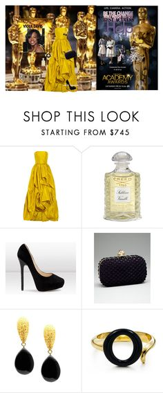 """""""Viola Davis Best Actress Academy Awards 2012"""" by greenchicdesignz ❤ liked on Polyvore featuring Oscar de la Renta, Creed, Jimmy Choo, Alexander McQueen, Tresor and Elsa Peretti"""