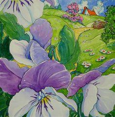 """Pansies in Spring Pastels Storybook Cottage Series"" - Original Fine Art for Sale - © Alida Akers"