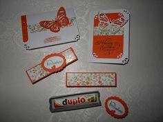 Karte Geschenk Geburtstag Stampin up Mitbringsel Duplo Verpackung Box Schiebebox Flüsterweiß Calypso Schmetterling Süße Kleinigkeit